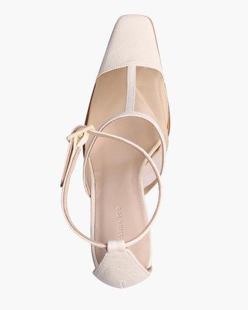 Estelle Heels Leather Mesh Ivory – REJINA PYO