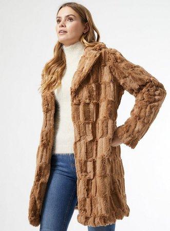 Camel Longline Faux Fur Coat