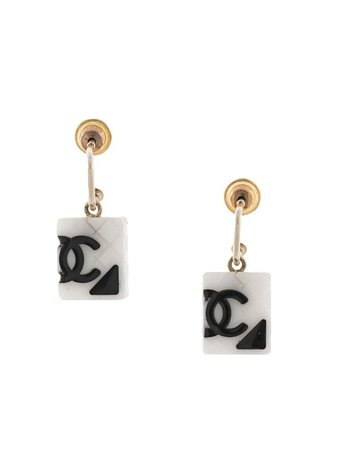 Chanel  Diamond Quilted Cc Earrings