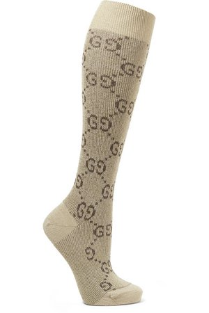 Gucci   Metallic cotton-blend jacquard socks   NET-A-PORTER.COM