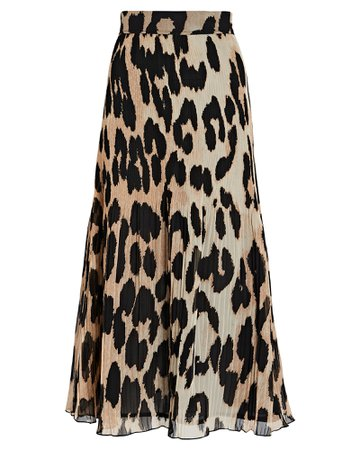 GANNI Leopard Pleated Georgette Midi Skirt   INTERMIX®