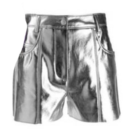 MSGM Faux Leather Metallic Shorts
