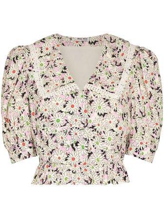 Miu Miu floral-print puff-sleeve Top - Farfetch