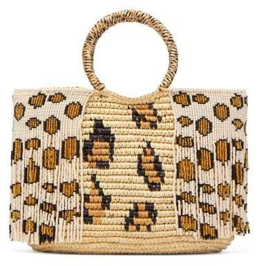 Studio - Leopard Bead Embellished Toquilla Straw Tote - Womens - Leopard