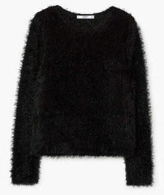 ZARA black fuzzy sweater   Curtsy