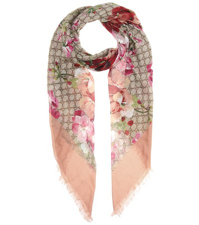 Printed silk-blend scarf