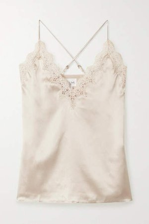 The Everly Lace-trimmed Silk-charmeuse Camisole - Cream