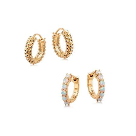 GOLD BAYA AND OPALITE HUGGIES EARRING SET | Missoma Limited