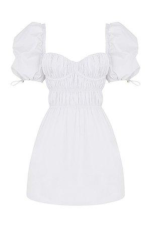 Clothing : Mini Dresses : Mistress Rocks 'Garden Party' White Gathered Mini Dress