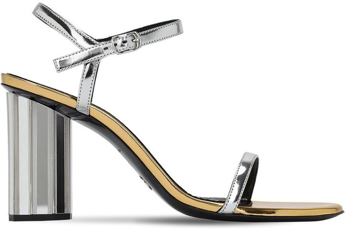 90mm Metallic Patent Faux Leather Sandal