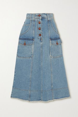 Denim Midi Skirt - Light denim
