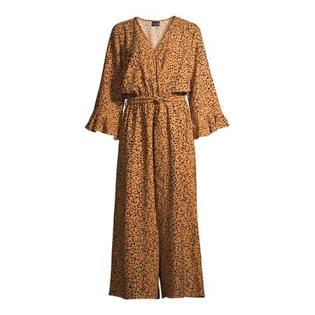 camel Scoop - Scoop Women's Tie Front Jumpsuit with Ruffle Long Sleeves - Walmart.com - Walmart.com