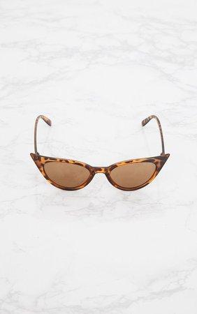 Brown Tortoiseshell Extreme Cat Eye Retro Sunglasses | PrettyLittleThing