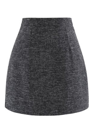 Wool-Blended Bud Mini Skirt in Smoke - Retro, Indie and Unique Fashion
