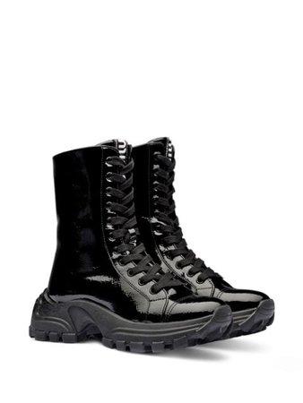 Miu Miu patent-finish lace-up boots - FARFETCH