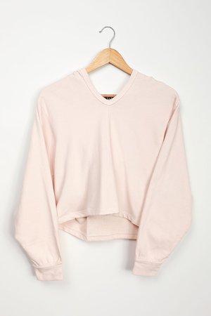 Cream Hoodie - Oversized Hooded Sweatshirt - V-Neck Sweatshirt
