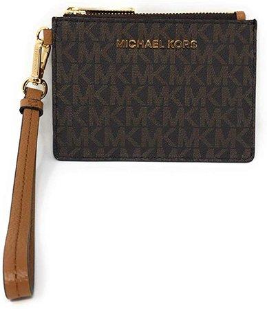Amazon.com: Michael Kors Jet Set Travel Top Zip Coin Pouch ID Card Case Wallet Wristlet (Brown PVC/Acorn): Clothing