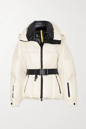 Grossaix Belted Printed Quilted Down Ski Jacket - White