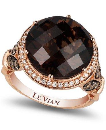 Le Vian 14k Rose Gold Chocolate Quartz and Diamond Ring