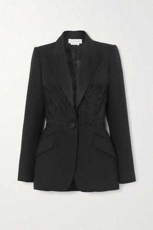 Black Satin-trimmed crepe and lace blazer | Alexander McQueen | NET-A-PORTER
