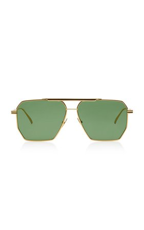 Square-Frame Aviator Metal Sunglasses by Bottega Veneta | Moda Operandi