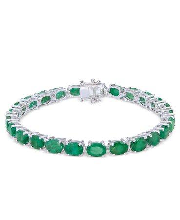 Macy's Sterling Silver Emerald Tennis Bracelet