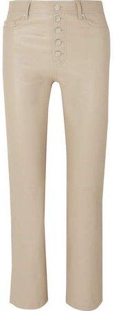 Den Cropped Leather Slim-leg Pants - Beige