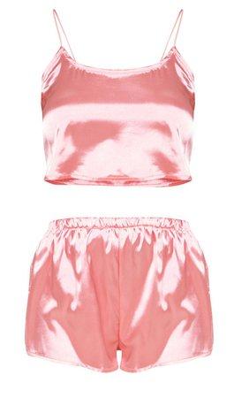 Issie Red Satin Pyjama Shorts Set | PrettyLittleThing USA