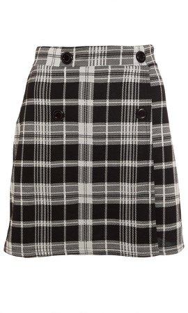 *Quiz Black Check Print Wrap Skirt