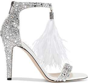 Feather And Crystal-embellished Leather Sandals