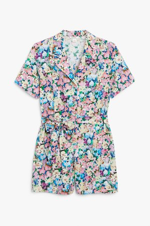 Cotton playsuit - Pink floral print - Playsuits - Monki WW