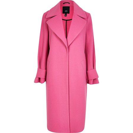 Pink cuff detail longline coat | River Island