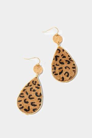Tariha Cheetah Fur Teardrop Earrings | francesca's