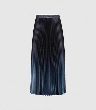 Marlene Blue Ombre Pleated Midi Skirt – REISS