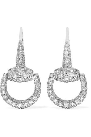 Gucci | 18-karat white gold diamond earrings | NET-A-PORTER.COM