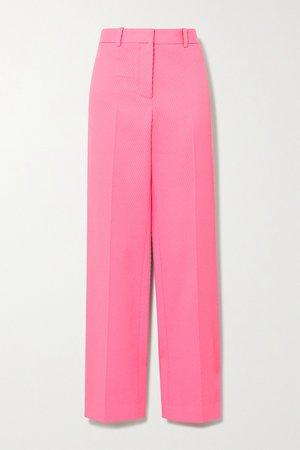 Pink Ribbed cotton straight-leg pants | Victoria Beckham | NET-A-PORTER
