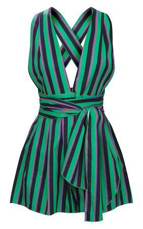 Green Stripe Tie Back Romper | PrettyLittleThing USA
