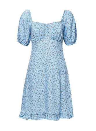 Blue Ditsy Sweetheart Mini Dress | Miss Selfridge