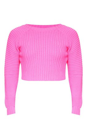 Neon Pink Cropped Rib Knit Jumper | Knitwear | PrettyLittleThing USA