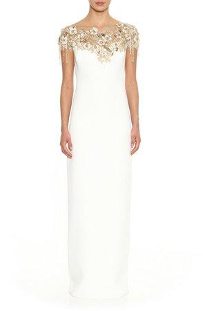 Sequin Floral Column Gown