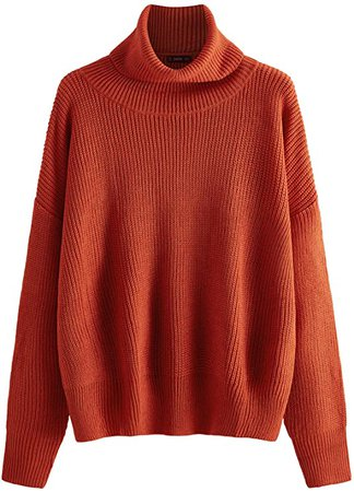 Milumia Women Turtleneck Long Sleeves Fall Winter Sweaters Crop Tops Basic Jumpers Orange Medium at Amazon Women's Clothing store