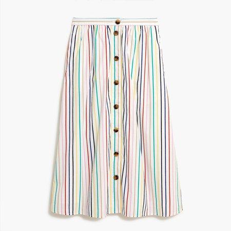 Button poplin midi skirt