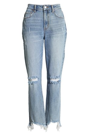 Tinsel Ripped Fray Hem Crop Bootcut Jeans (Hilton)