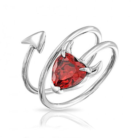 Spiral Devil Horns Heart Ring