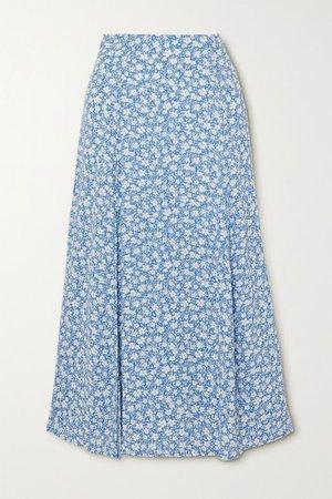 Zoe Floral-print Crepe Midi Skirt - Light blue