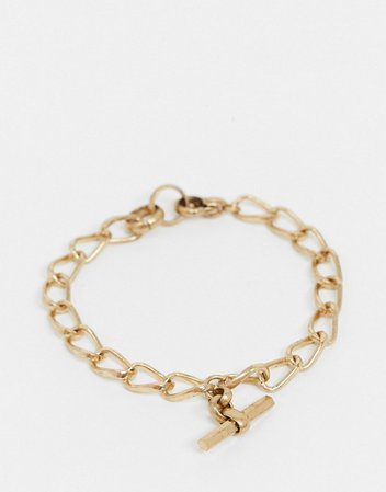 AllSaints toggle chain bracelet in gold | ASOS