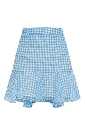 Zahara Blue Chiffon Floaty Hem Gingham Mini Skirt