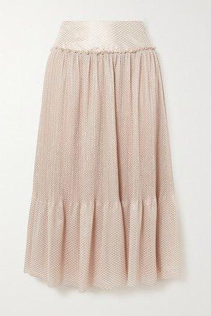 Tiered Metallic Plisse-chiffon Midi Skirt - Beige