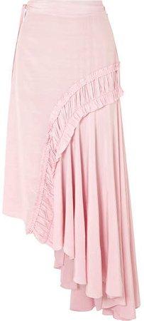 Gracia Asymmetric Shirred Crepe De Chine Midi Skirt - Baby pink