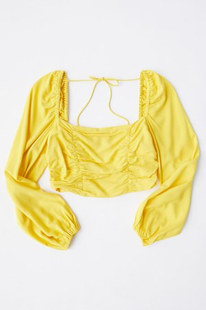 UO Bambi Ruched Cropped Blouse | Urban Outfitters